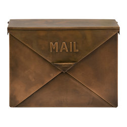 iMax - Tauba Copper Finish Mail Box - Old fashioned, Antique look, mail box with hinged lid resembles the look of an envelope.