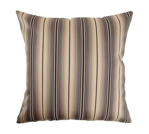 """The Pillow Collection - Bailey Stripes Pillow Blue/Brown 20"""" x 20"""" - This Bailey Stripes Pillow features a contemporary design, which is perfect for the office or home. This square throw pillow comes with blue, brown and flesh stripes. This decorative pillow is easy to incorporate with your furnishings. The pillow is made of 54% Cotton and 46% Polyester. Hidden zipper closure for easy cover removal.  Knife edge finish on all four sides.  Reversible pillow with the same fabric on the back side.  Spot cleaning suggested."""