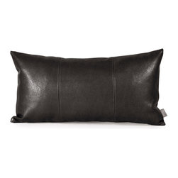 Howard Elliott - Sultry Black Kidney Pillow - Pillows are made to order. Change up color themes or add pop to a simple sofa or bedding display by piling up the pillows in a multitude of colors, textures and patterns. This Avanti Pillow features a sultry black color, textured grain and a paneled design to give the look of true leather. Sultry Black. 11 in. x 22 in.