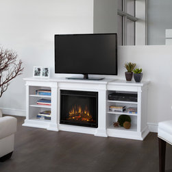 Real Flame - Real Flame G1200E-W Fireplace - This combination TV stand and real flame LED fireplace is the perfect addition to a media room for both presentation and storage needs. The piece includes an electric firebox that can be adjusted to give you precisely the level of flames desired.