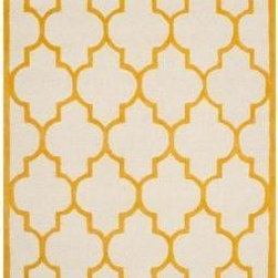 Safavieh - Safavieh Cambridge CAM134U 6' Square Ivory, Gold Rug - Bring classic style to your bedroom, living room, or home office with a richly-dimensional Safavieh Cambridge Rug. Artfully hand-tufted, these plush wool area rugs are crafted with plush and loop textures to highlight timeless motifs updated for today's homes in fashion colors.