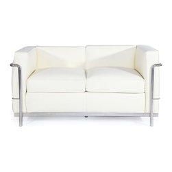 """IFN Modern - Le Corbusier LC2 Style Loveseat-Ivory - 100% Italian Leather - Created by one of the most well-known swiss-french architects Le Corbusier (Charles-Edouard Jeanneret-Gris), the LC line is Le Corbusier's successful effort at fusion of urban style with the industrial steel age as a breakthrough to modernism. Like a cushion cradle, the LC Reproduction line boasts a unique, stylish and attention-grabbing externalized frame that holds the cushions like little baskets. Originally designed for the Maison la Roche in Paris as part of Le Corbusier's 2 projects, the final product of chrome-plated tubular steel chairs have now become an iconic timeless collection imbued with elegance and class. As a specialized manufacturer of famous mid-modern designer furniture, the LC Line Reproduction by IFN Modern also reflects these qualities not only in terms of classy and elegant appearance but also in utmost care in details such using premium construction material in 100% full grain leather and solid stainless steel. This collection features:1. Stylish """"basket of cushions†to hold 2 individuals comfortably in style 2. Signature look of externalized steel frame 3. Plush cushions that stay in shape to cradle the contours of the delicate body for a perfect fit and comfortable session. 4. Back to front to bottom, side to side fully upholstered in full grain Italian/Aniline leather5. Functionally elegant couple's piece for lovebirds in any setting• Product is upholstered in 100% Full Grain Italian Leather, 100% Full Grain Aniline Leather or Fabric • Variety of colors available• Long lasting durability and strength with high grade solid stainless polished steel frame resistant to chipping/rusting.• Silky smooth corners from detailed welding, grinding and sanding• Balanced stability on all surfaces with adjustable floor-leveling footcaps• Plush cushions that stay in shape for short-long sessions comfort with high density injected foam."""