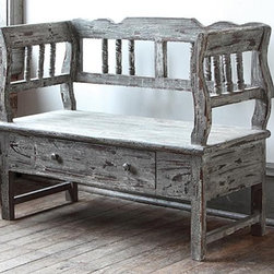 Grandview Aged Wooden Bench - How beautiful is this bench? It has such an expensive look to it.