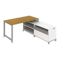 """Bush - Bush Momentum 60"""" L-Shape Desk with Storage in Modern Cherry - Bush - office Sets - MOM047MC - Contemporary open architecture design fosters teamwork. Bush Momentum enables supports and inspires creativity. It's modular furniture in step with today's evolving office environments. Get room to spare plus adaptability to any office or team size. 60""""W Desk is 30""""D for extra space. Long on style while modest in cost it's easily reconfigurable. Metal support bar helps ensure structural rigidity. Pre-drilled to accept Keyboard Trays mounted in any of three positions. 36""""W Open Storage case with one full-width fully adjustable shelf for books reference materials and odd-size manuals goes anywhere with ease. 36""""W x 24""""H Piler/Filer cabinet keeps clutter to a minimum and holds all necessary papers documents or office supplies. offers extra workspace and combines a cubby shelf two box drawers and one lateral file drawer for storage versatility. Full-extension ball-bearing slides make it easy to reach the back of drawers. Straight-leg kit with durable metallic silver powder coated paint finish connects other pieces from the Momentum series. Durable Diamond Coat finish on all work surfaces resists stains and scratches. Edge banding protects against dents and dings. Includes Bush Limited Life Time warranty."""