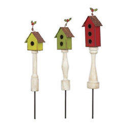 Winter Birdhouse Picks Set of 3 - This set of three mini winter birdhouses were designed by Genevieve Gail and features all-weather paint.