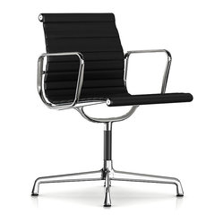 Herman Miller Eames Aluminum Side Chair with Arms, Leather