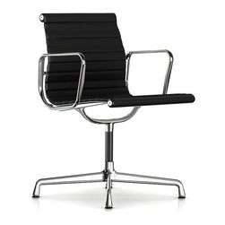 Herman Miller - Herman Miller Eames Aluminum Side Chair with Arms, Leather | Smart Furniture - Put your guests in the hot seat with the cool, retro vibe of this side chair. It's clad in supple leather that works just as wonderfully in the home office as it does in the boardroom. Originally created by the iconic design team of Charles and Ray Eames, it bears all the hallmarks of their unmistakable ethos.