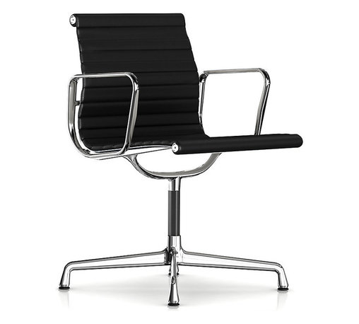 Herman Miller - Herman Miller Eames Aluminum Side Chair with Arms - Leather - Put your guests in the hot seat with the cool, retro vibe of this side chair. It's clad in supple leather that works just as wonderfully in the home office as it does in the boardroom. Originally created by the iconic design team of Charles and Ray Eames, it bears all the hallmarks of their unmistakable ethos.