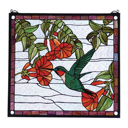 Meyda Tiffany - Meyda Tiffany Sweet Hummingbird Window X-04518 - A ruby throated, green bodied hummingbird eats from a brilliant red flower on this Meyda Tiffany window. From the Sweet Hummingbird Collection, this charming design also features a neutral backdrop and plum trim around the board, which compliments the greens, reds and other hues of the main image.