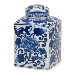 Tollmache Blue and White Lidded Jar - In a style reminiscent of New Burleigh and antique transferware, the Tollmache Blue White lidded jar has a subtle, sophisticated oriental inspiration mixed with modern technique that makes it a one of a kind accent for any home.