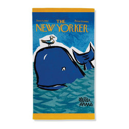 "Frontgate - New Yorker Flamingos Beach Towel - Vintage covers from the archives of Conde Nast are reproduced on these color graphic towels. The reversible towel features the colorful graphic imprinted on silky cut pile and reverses to a plush terry back for superior absorbency. Generous 40"" x 70"" size . Reverse to a solid-color back . 450 grams per square meter results in superior plushness and absorbency. Preshrunk cotton ensures towels retain their full size . Double-stitched edges along all sides for hotel laundry durability . Machine wash and dry . Wash with like colors in cold water; do not bleach; tumble-dry low."