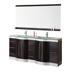 "Design Elements - Design Elements DEC023-GTP Vanity in Espresso - The 72"" Jade glass-top double-sink vanity is beautifully constructed of solid hardwood. The integrated tempered glass counter top and sleekly curved sinks bring contemporary elegance to any bathroom. Seated at the base of the two sinks are chrome pop-up drains, designed for easy one-touch draining. A large mirror with accented espresso shelf and border is included. This sleekly designed vanity has ample storage, which includes nine drawers and two large double-door cabinets, all accented with satin nickel hardware."
