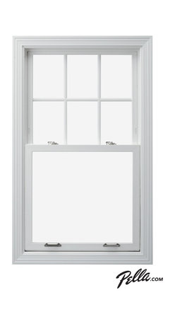 Pella® 350 Series vinyl double-hung window - Pella® 350 Series vinyl double-hung windows feature Pella's exclusive energy-saving system, making them the most energy-efficient product line offered by Pella, meeting or exceeding US ENERGY STAR® guidelines.