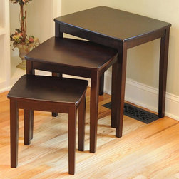 Bay Shore - 3-Pc Nesting End Table Set - Made from rubber wood. Espresso finish. Assembly required. Small table: 13.9 in. W x 12.2 in. D x 14.9 in. H. Medium table: 16.6 in. W x 15.4 in. D x 18.5 in. H. Large table: 20.9 in. W x 16.9 in. D x 21.9 in. HThe Bay Shore Collection 3 Piece Nesting End Table Set is a great way to make space and save space at the same time. They all nest together to save space when not in use. Great for use in the bedroom as a night stand or a side table in the office, living room, family room and game room.