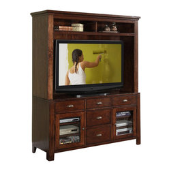 Riverside Furniture - Riverside Furniture Castlewood Entertainment Center in Warm Tobacco - Riverside Furniture - TV Stands - 3354133542KIT - Riverside's products are designed and constructed for use in the home and are generally not intended for rental commercial institutional or other applications not considered to be household usage.Riverside uses furniture construction techniques and select materials to provide quality durability and value in our products and allows us to meet the wide range of design and budget requirements of our customers. The construction of our core product line consists of a combination of cabinetmaker hardwood solids and hand-selected veneers applied over medium density fiberboard (MDF) and particle board. MDF and particle board are used in quality furniture for surfaces that require stability against the varying environmental conditions in modern homes. The use of these materials allows Riverside to design heirloom quality furnishings that are not only beautiful but will increase in value through the years.