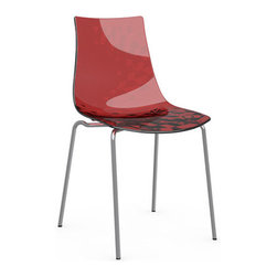 Calligaris - ICE Chair, Chrome Frame, Transparent Red, Set of 2 - Aptly named, this chair will give you shivers of delight. Its translucent shell has a subtle textured pattern that's seen in just the right light. Pick a neutral gray or white, or turn it up a notch with a shock of red.