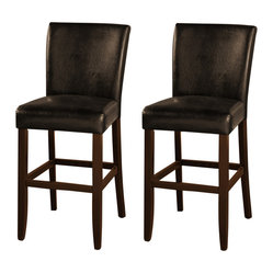 American Heritage - American Heritage Adriana Transitional Bar Stool (Set of 2) - The Adriana bar stool is very comfortable and sure to enhance most any decor. The hardwood frame is finished in brown and complimented by the black upholstery. The cushioned seat and back is extra thick for your comfort. What's included: Barstool (can only be purchased in sets of 2).