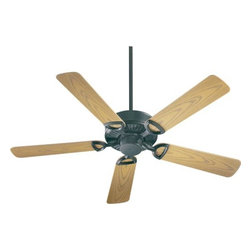 Quorum International - Estate Matte Black Energy Star 52-Inch Patio Fan - -Amps: .57/.39/.21  -Fan Watts: 68/29/8  -RPM: 168/112/65  -Motor Size: 153x15  -Motor Poles: 14  -Motor Warranty: Limited Lifetime  -Motor Lead Wire: 80  -Motor Switch Type: Hi/Med/Low/Off  -Motor Reverse Type: Slide  -Five Medium Oak Blades  -Blade Sweep: 52  -Arm Pitch: 14  -Down Rods Included: 3.5 and 6  -Ceiling to Lower Edge of Blade: 10.51  -Fan Housing Width: 11.02  -Optional remote control available.  See companioned items to order. Quorum International - 143525-59