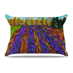 "Kess InHouse - Jeff Ferst ""Flowers in the Field"" Orange Purple Pillow Case, King, 36""x20"" - This pillowcase, is just as bunny soft as the Kess InHouse duvet. It's made of microfiber velvety fleece. This machine washable fleece pillow case is the perfect accent to any duvet. Be your Bed's Curator."
