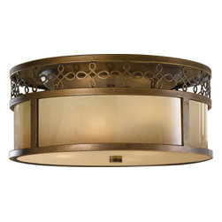 Murray Feiss - Murray Feiss Justine Transitional Flush Mount Ceiling Light X-BTSA733MF - A beautiful filigree pattern adds a touch of elegance and sophistication to this Murray Feiss flush mount ceiling light. From the Justine Collection, the modern drum shade shape is complimented by a combination of an aged oak glass and a beautiful Astral Bronze finish. Suitable for damp locations.