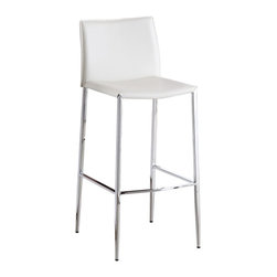 J&M Furniture - Fixed White C065-3 Barstool (Set of 2) - This C065-3 Fixed White Barstool by M Furniture will add a touch of sophistication, with a very subtle retro vibe. Available in Black, Brown, and White Leather. The mix of chrome and leather is essential for the contemporary design to be in evidence.