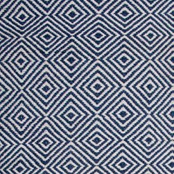 Hook & Loom Rug Company - New Ashford Denim/White Rug - Very eco-friendly rug, hand-woven with yarns spun from 100% recycled fiber.  Color comes from the original textiles, so no dyes are used in the making of this rug.  Made in India.