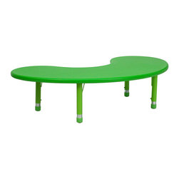 "Flash Furniture - 35""W x 65""L Height Adjustable Half-Moon Green Plastic Activity Table - Kids activity tables are excellent for early childhood development. The primary colors make learning and play time exciting when several colors are arranged in the classroom. This durable table features a plastic top with steel welding underneath along with adjustable steel legs that is sure to last throughout the years."