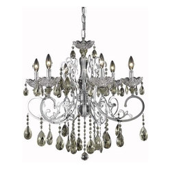 """PWG Lighting / Lighting By Pecaso - Kerman 6-Light 26"""" Crystal Chandelier 2406D26C-GT-RC - Glittering crystals suspend from the detailed curves of the chrome finished arms of this chic fixture. The Kerman Collection is also offered with golden teak crystal accents."""