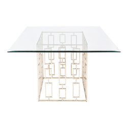 """Worlds Away - Worlds Away Silver Leaf Square Dining Table with 54""""Dia Glass Top JACKSON SSQ54 - Champagne silver leaf square dining table base with 54""""w x 54""""d square beveled glass. Glass is 3/8"""" thick."""