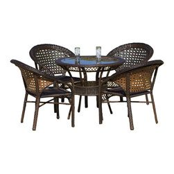 Great Deal Furniture - Sassel Outdoor Bistro Set - This elegant bistro outdoor furniture includes 4 fan back armed PE wicker outdoor club chairs and a round PE wicker dining table with amber glass top.