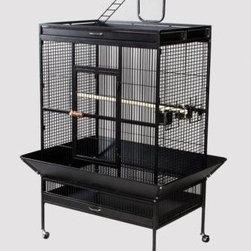 """Prevue Hendryx - Signature Series Select Wrought Iron Cage - 36x24x66 - Select Signature wrought iron cage includes top and bottom pull out drawers, and bottom pull out grille, 4 stainless steel cups, top playpen and rounded seed guards, and cage stand with easy-rolling casters. All cages have heavy duty push button door lock, and 2 wooden perches. The cages are available in 8 different powder-coated colors, 5 non-toxic powder coated hammer tone finishes: - black, chalk white and pewter, Coco, Sage & 3 non-toxic shiny, brilliant finishes: -Jade Green, Garnet Red, and Cobalt Blue. -Available in black, cobalt blue, chalk white, coco, jade green, garnet red, sage green and pewter. -Includes top and bottom pull out drawers, and bottom pull out grille, 4 stainless steel cups, top playpen and rounded seed guards, and cage stand with easy-rolling casters. -The heavy duty push-button door lock ensures your pet's safety. -Measures 36"""" L x 24"""" D x 66"""" H. -0.75"""" wire spacing. -90 day warranty."""