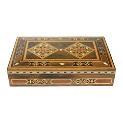 MBW Furniture - Syrian Walnut Mosaic Jewelry Box w Mother of Pearl Inlay - This gorgeous mosaic jewelry box is handcrafted in Syria. Rested in the lid are the rich vibrant colors of red and peach wood, and genuine mother of pearl inlaid in ornate designs. The interior has a lush reddish orange lining with a red and white braided trim. Inside, the top also has an inlaid design. This item has an out of the ordinary mystique about it, a true treasure for you to store your jewelry or other keepsakes in. Also, the perfect gift for the person you know who has everything!