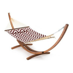 Island Bay 13 ft. Merlot and Cream Chevron Stripe Quilted Hammock with Wood Arc - The Island Bay 13 ft. Merlot and Cream Chevron Stripe Quilted Hammock with Wood Arc Stand is built for two adults in need of a lazy afternoon. Featuring a sophisticated combination of burgundy in a chevron design, this beautiful hammock is an elegant yet fun addition to any yard. A wide, sturdy spreader bar keeps the hammock flat and comfy; perfect for taking a nap or reading a long book. Button on the included button-on pillow for an extra level of comfort that will make it hard to get up again. The gorgeous Algoma 15-foot Russian Pine Wood Arc Hammock Stand is the perfect complement to this comfortable hammock. Crafted from beautiful Russian pine wood, this stand artfully suspends the hammock and allows for plenty of swing. The sculptural arc design adds elegance and sophistication to your yard's landscape, making for a picturesque lounging area. Sealed for protection from the elements, this stand and hammock set will be a favorite hangout for the entire family. The dimensions of the bed itself are 6 feet 5 inches in length and 4 feet 6 inches in width. Overall, this hammock stretches a total of 11 feet 5 inches and requires a hanging distance of at least 13 feet with a 16-foot maximum. The maximum weight capacity is 450 pounds. Hanging hardware is included. Additional Features Stand crafted from beautiful Russian pine wood Sculptural and sturdy arc design Assembly required Overall hammock length: 11 ft. 5 in. Bed dimensions: 6 ft. 5 in. L x 4 ft. 6 in. W Stand dimensions: 15L x 4W x 4H feet About Island Bay HammocksIsland Bay brings you well-designed, authentic hammocks and accessories from around the world. From the East Coast to the West Indies, the hammock is recognized as the ultimate getaway, so we've dedicated ourselves to getting it right. You'll find eye-catching colors and patterns, comfortable outdoor designs, and heavy-duty stands designed to keep you swinging peacefully. It's your world ... relax in the real thing.