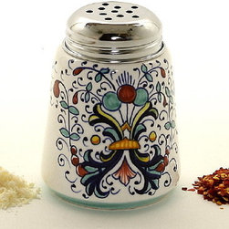 Artistica - Hand Made in Italy - Ricco Deruta: Cheese/Spice Shaker with Stainless Steel Top - Metal parts made in the USA - Ceramic parts hand painted and imported from Deruta-Italy.