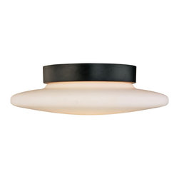 "Sonneman - Sonneman Saturn 14"" Surface Ceiling Light Fixture - Closer to the ceiling this contemporary lighting approach is stunning in black and white. Design by Sonneman. Satin black finish. White opal frosted glass. Takes two 60 watt medium base bulbs (not included). 4 1/2"" high. 14"" diameter. Shade is 2 1/2"" high. 14"" diameter. Canopy has 8"" diameter.  Satin black finish.  White opal frosted glass.  Takes two 60 watt medium base bulbs (not included).  14"" diameter.  4 1/2"" high.  Canopy has 8"" diameter."