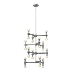Fredrick Ramond - Fredrick Ramond FR41950PAL Karma 24 Light Chandeliers in Polished Aluminum - Karma's modern European design is constructed from light weight die cast aluminum. The unique, arm design features up and down lamping, complemented by a chic Polished Aluminum finish.