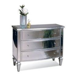 Basett Mirror - Bowfront Hall Chest - Clear Mirror/Silver Leaf - Bowfront Hall Chest - Clear Mirror/Silver Leaf. 43 x 20 x 34 H