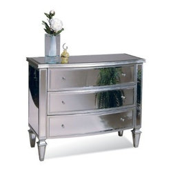 "Basett Mirror - Bowfront Hall Chest - Clear Mirror/Silver Leaf - Bowfront Hall Chest - Clear Mirror/Silver Leaf. 43"" x 20"" x 34""H."