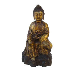 Golden Lotus - Chinese Bronze Sitting Kwan Yin Statue - This sitting Kwan Yin statue is made of bronze and has very detailed carving. He is sitting on a cushion, holding a spring dew vase and in a blessing position. This is a prayer's item and also collectable.