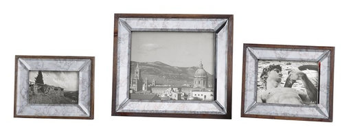 Steve Kowalski - Steve Kowalski 18567 Daria Antique Mirror Photo Frames S/3 - Display Those Special Photos In These Sophisticated Frames Made Of Antiqued, Beveled Mirrors Accented With An Aged Pecan Stained Solid Wood Outer Frame. Holds Photo Sizes:4x6, 5x7 & 8x10. Sizes: Sm-6x8x1, Med-8x10x1, Lg-12x14x1