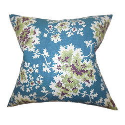 The Pillow Collection - Danique Blue 18 x 18 Floral Throw Pillow - - Pillows have hidden zippers for easy removal and cleaning  - Reversible pillow with same fabric on both sides  - Comes standard with a 5/95 feather blend pillow insert  - All four sides have a clean knife-edge finish  - Pillow insert is 19 x 19 to ensure a tight and generous fit  - Cover and insert made in the USA  - Spot clean and Dry cleaning recommended  - Fill Material: 5/95 down feather blend The Pillow Collection - P18-D-CECILIA-BLUEGREEN-C55