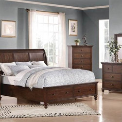 Acme Furniture - Aceline Trasitional Cherry 5 Piece Queen Bedroom Set - 21380Q-5 - Set includes Queen Bed, Dresser, Mirror, Nightstand and Chest