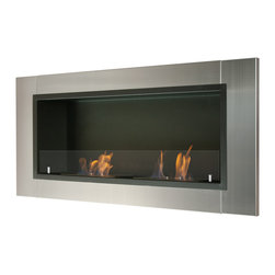 "Ignis Products - Lata Wall Mounted / Recessed Ventless Ethanol Fireplace with Glass Barrier - Free up floor space and give your room a streamlined, modern look with this Lata Recessed Ventless Ethanol Fireplace. This clean-burning fireplace gives you all the heat and warmth of a traditional fireplace without the fuss and mess of a wood-burning units. It works on ethanol, so it doesn't need special lines or a chimney to give you the deliciously toasty heat you crave to knock the chill out of frosty mornings. It has a beautiful contemporary look with a stainless steel frame that is shiny and modern, and a black powder-coated backdrop that provides the perfect canvas for the 1.5-liter burners. This unit gives out a total of 12,000 BTUs of heat with two burners. Dimensions: 43.25"" x 19.75"" x 7.1"". Features: Ventless - no chimney, no gas or electric lines required. Easy or no maintenance required. Easy Installation - Can be mounted directly on the wall or recessed (mounting brackets included). Capacity: 1.5 Liter (per Burner). Approximate burn time - 5 hours per burner per refill. Approximate BTU output: ~6000 per Burner (Total BTU ~12000)."