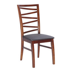 Chintaly Imports - Solid Oak Side Chair (Set of 2) - Beautiful abstract design back solid wood side chair. The chair is finished in dark oak. The seat is Upholstered in durable Brown PVC.