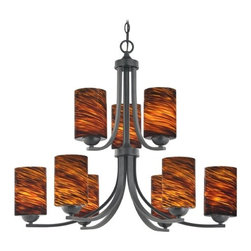 Design Classics Lighting - Modern Chandelier with Brown Art Glass in Matte Black Finish - 586-07 GL1023C - Contemporary / modern matte black 9-light chandelier. Takes (9) 100-watt incandescent A19 bulb(s). Bulb(s) sold separately. UL listed. Dry location rated.