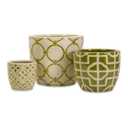 Imax Worldwide Home - Lattice Contianers - Set of 3 - Set of three ceramic containers.  green and white in color and each with a unique geometric design. Containers-Ceramic. 4.75-7-9.25 in. H x 5-8-10.25 in. D. 100% Ceramic