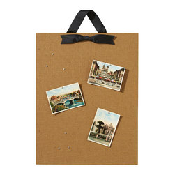 Home Decorators Collection - Large Vertical Magnet Board - Our decorative Large Vertical Magnet Board offers a beautiful, tactile way to display photos, notes, clippings and more. Twelve small circular magnets keep the focus on your memories. The black bow adds an elegant finishing touch. Burlap, ribbon and galvanized steel. Board hangs from the ribbon. Includes 12 strong magnets. Handcrafted in the USA.