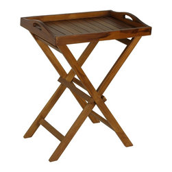 None - Bare Decor Teak Indoor/ Outdoor Tray Table - Crafted from genuine teak wood,this serving tray table makes a great addition to any indoor or outdoor space. The space-saving collapsible legs mean you can bring this table out only when you need it,freeing up valuable space.