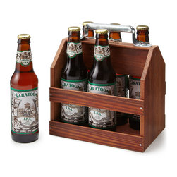 Wooden Six-Pack Beer Tote - A wood tote is a simple, straightforward way to carry your beer.