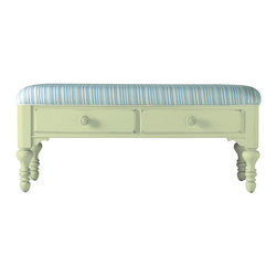 Stanley Furniture - Coastal Living Cottage Bed End Bench - Sea Grass Finish - When a settee is too much and a stool is too little, this cheery double-drawer bench fits the bill. Heavily padded upper seat makes soft work of lacing sneakers. Made to order in America.